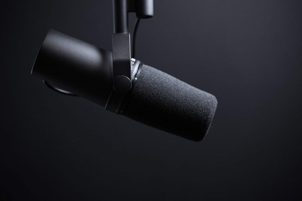microphone suspended in the air